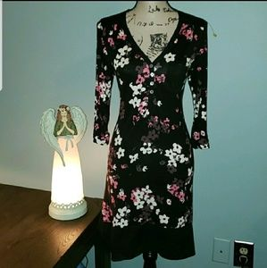 New Anne Klein 2 High Low 3/4 Sleeve Shirt Dress